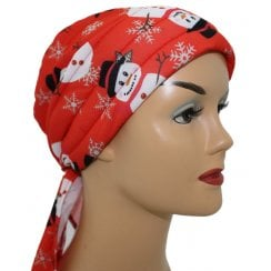 3 Seams Padded Bandana Christmas Snowman on Red
