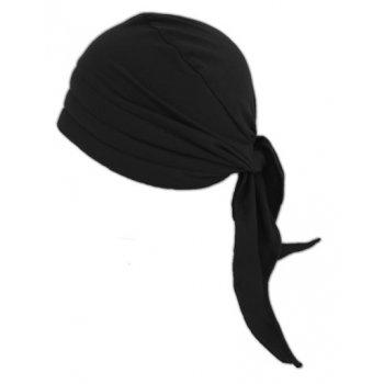 3 Seams Padded Bandana In Black Lightweight 100% Cotton Jersey