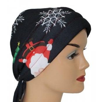 3 Seams Padded Jersey Bandana Santa Christmas Snow Flakes on Black