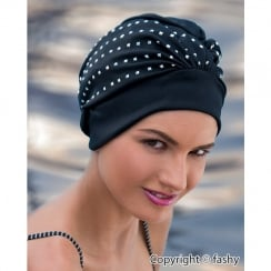 Adjustable Turban Swimming Cap Black Square Sequins