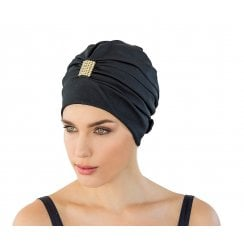 Adjustable Turban Swimming Cap Black with Gold Diamante Detail