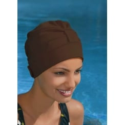 Adjustable Turban Swimming Cap Brown