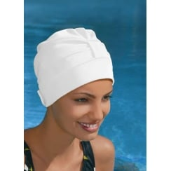 Adjustable Turban Swimming Cap White