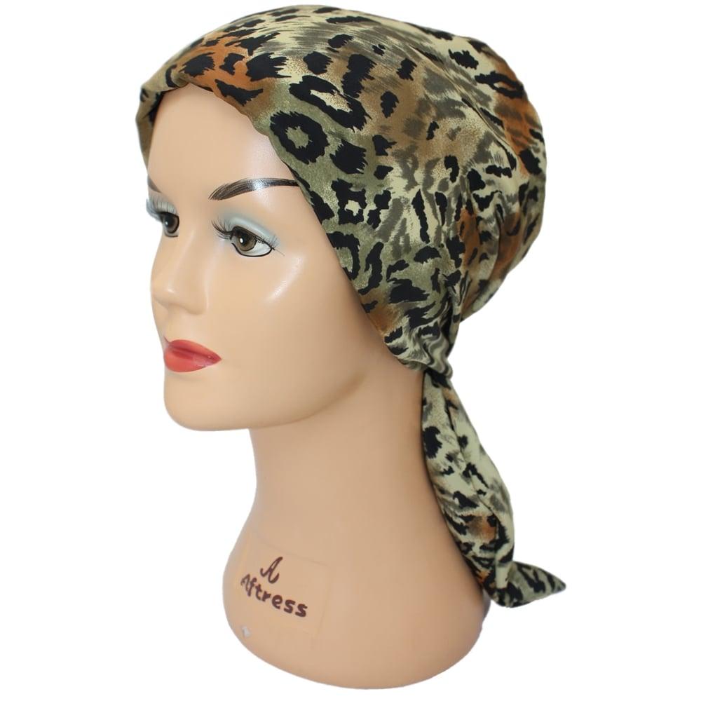4416d1c2e ... Animal Print Padded Chiffon Head Tie Scarf (Black Tan and Browns) ...
