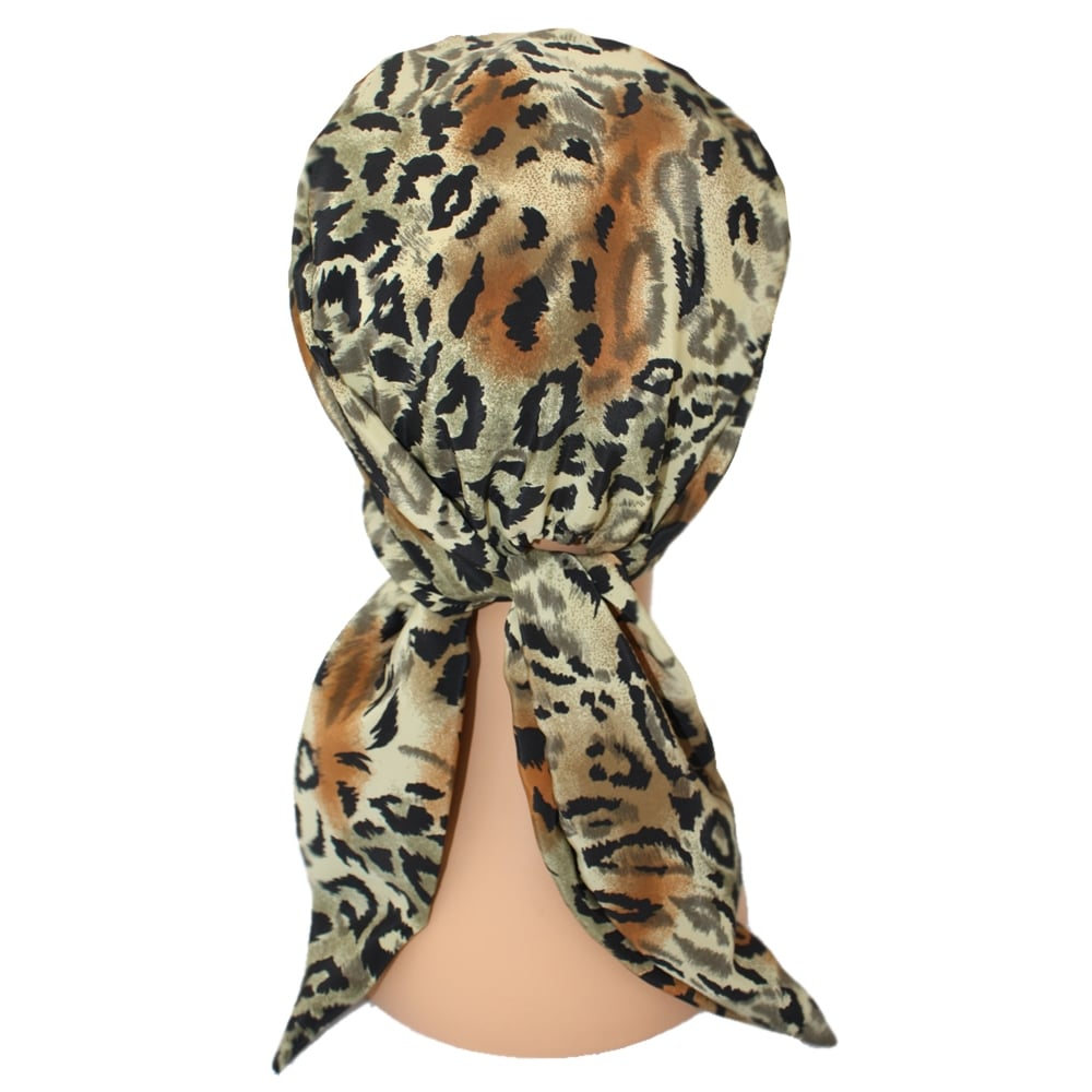 4b4076f8d ... Animal Print Padded Chiffon Head Tie Scarf (Black Tan and Browns) ...