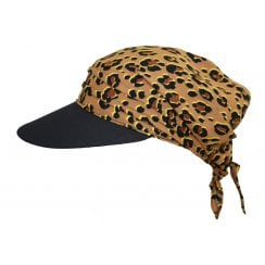 Animal Print with Black Visor Hat