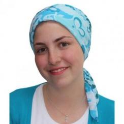 Aqua Garden Padded Chiffon Head Tie Scarf (Turquoise, Blue, White)