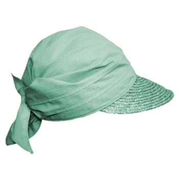 Aqua Green Straw Visor Hat By Seeberger