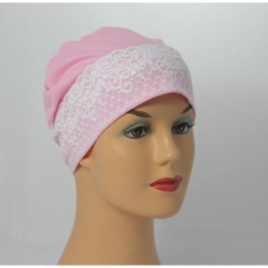 Baby Pink Lace Sleep Cap Lightweight 100% Cotton Jersey