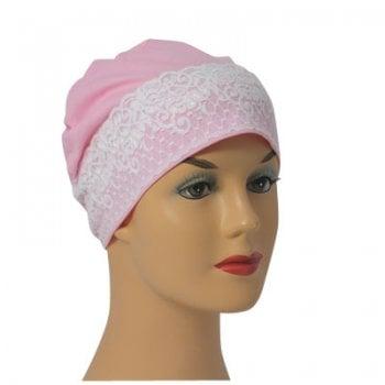 Baby Pink Lace Sleep Cap Lightweight 100% Cotton Jersey