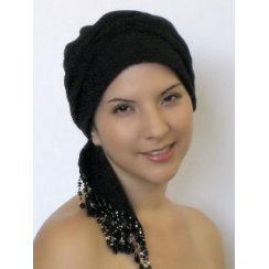 Beaded Black Padded Crinkled Chiffon Head Tie Scarf