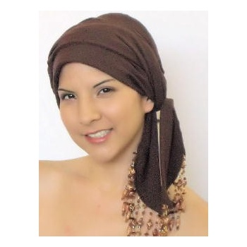 Beaded Brown Padded Chiffon Head Tie Scarf