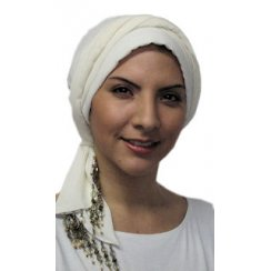 Beaded Ivory Padded Crinkled Chiffon Head Tie Scarf
