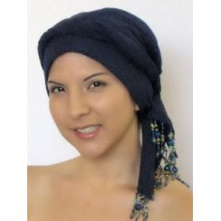 Beaded Navy Padded Crinkled Chiffon Head Tie Scarf