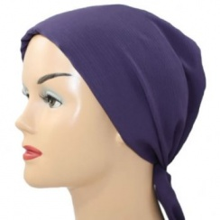 Beaded Plum Padded Cotton Chiffon Head Tie Scarf
