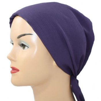 Beaded Plum Padded Crinkled Chiffon Head Tie Scarf