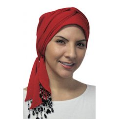 Beaded Red Padded Crinckled Cotton Head Tie Scarf