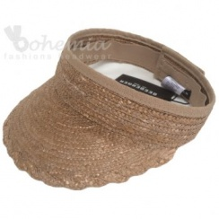 Beige Straw Open Visor With Velcro Fastening By Seeberger