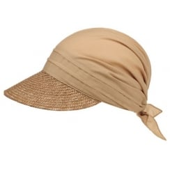 Beige Straw Visor Hat By Seeberger
