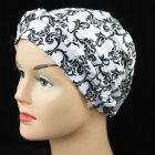 Black And Silver Swirls On White Cotton Jersey Head Tie Scarf