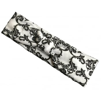 Black And Silver Swirls On White Headband Jersey