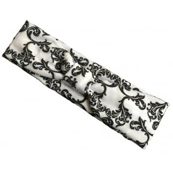 Black And Silver Swirls On White Headband Jersey