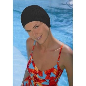 Black Bubble Crepe Non Pull Swim Cap
