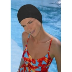 Black Bubble Crepe Non Pull Swim Cap