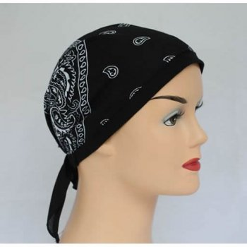 Black Jersey Cap Bandana 100% Cotton