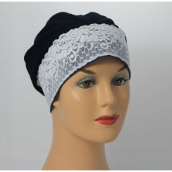 Black Lace Sleep Cap Lightweight 100% Cotton Jersey