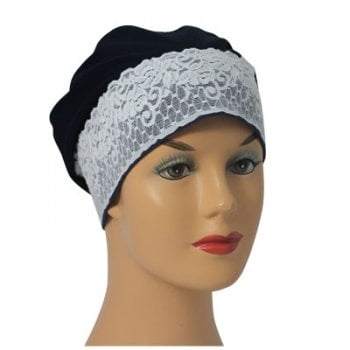 Black Lace Sleep Cap Lightweight 100% Cotton Jersey