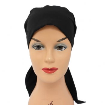 Black Padded Cotton Head Tie Scarf