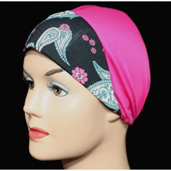 Black Paisley Fuschia Light Jersey Cap