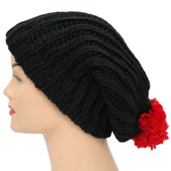 Black/Red Long Slouch Beanie Bobble Hat