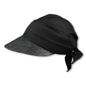 Black Straw Visor Hat By Seeberger