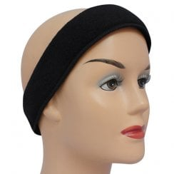 Black Towelling Cosmetic Headband With Velcro