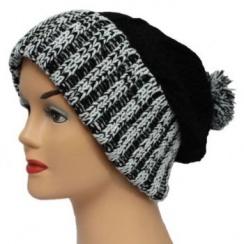 Black/White Long Slouch Beanie Bobble Hat