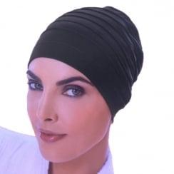 Black Yoga Cap In Cotton Jersey