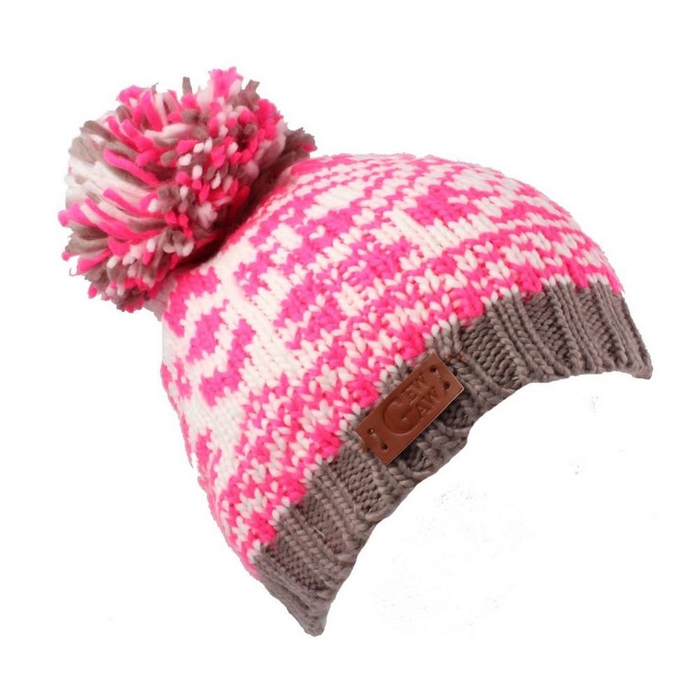 Bright Pink With Grey Trim Gew Gaw Beanie Bobble Hat - BH Winter Beanies  from Bohemia Headwear UK 4b94015bd6e