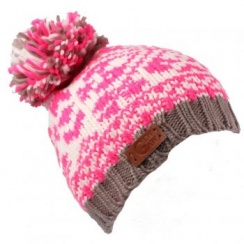 Bright Pink With Grey Trim Gew Gaw Beanie Bobble Hat