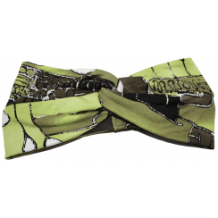 Brown and Green Abstract Jersey Twist Wrap