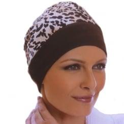 Brown Animal Print Reversible Turban In Cotton Jersey
