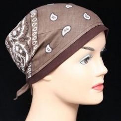 Brown Jersey Cap Bandana 100% Cotton