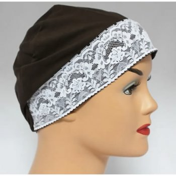 Brown Lace Sleep Cap Lightweight 100% Cotton Jersey