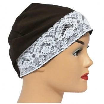 Brown Lace Sleep Cap Lightweight 100% Cotton Jersey
