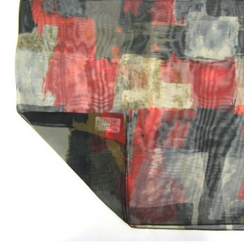 Chiffon Wrap Scarf Abstract Square Red