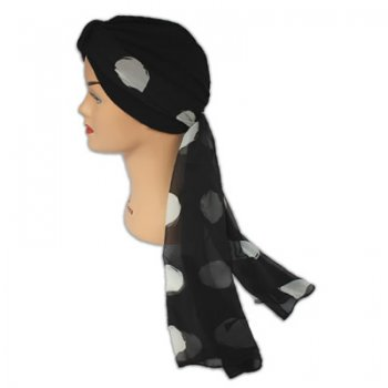 Chiffon Wrap Scarf Dot Pattern In Black