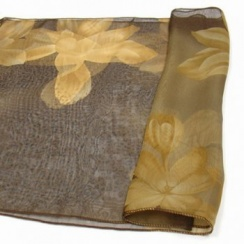 Chiffon Wrap Scarf Floral Orchid Brown