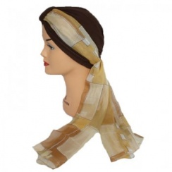 Chiffon Wrap Scarf In Tones Of Brown (Tan)
