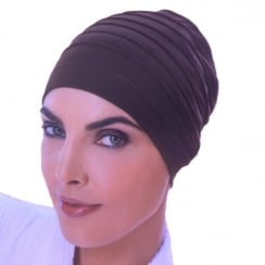 Chocolate Brown Yoga Cap In Cotton Jersey